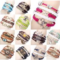 Original 2014 Mixed Design Handmade Leather Infinity Bracelet Men Women Jewelry Free Shipping