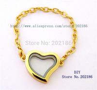 5pcs 30mm Golden color Magnetic floating locket Bracelets Heart style floating charm locket Free shipping