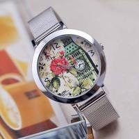 XMAS Big Bargain!! New Fashion Women Rose Flower Eiffel Tower Full Stainless Steel Dress Sliver Bracelet Gift Watch