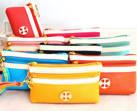 Multi Purpose 3 Zippers Waterproof PU Leather wallet/purse/mobile phone pouch Q0024, Golden decoration ,Free Shipping