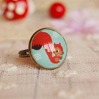 Winter series squirrel ring retro rings Christmas ornaments medium 16mm  NS-jz10