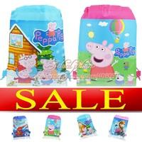 Hot Sale !!! 1pcs 35*27CM Non-woven Tinker Bell,Monster High,Frozen,Peter Pan,Peppa Pig etc,Cartoon Drawstring Backpack Bags