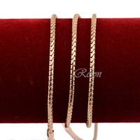 1pcs 61cm Long Chains Men's Women's 18k Rose Gold Filled Snake Link Necklace Gift E246