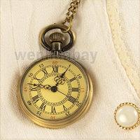 Antique Bronze Roman Numerals Dial Pocket Watch Necklace Pendant Mens Gift P96