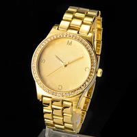 New Arrival 2014 Unisex Watches Luxury Brand Rhinestone Dress Bracelet Fashion Watches Rose Gold Ladies Quartz Watch