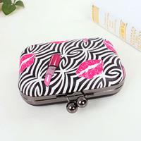 HOT!!! Women's Handbag Zebra Strip Lipstick Lips Kiss Fashion One Shoulder Small Bag Hard PVC Women Messenger Bags Evening Bag