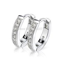 GNE0471 NEW 925 Sterling Silver Earrings Silver Stylish Jewelry Fashion CZ Hoop Earrings 12.8mm*2.4mm for Women Free Shipping