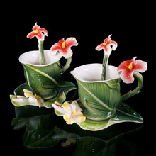 6PCS Elegant Canna porcelain Coffee Set  2Cup/2Saucer/2Spoon