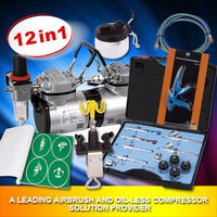 FengDa Oil free air compressor with airbrush and airbrush holde for body paint and tattoo AS-19K