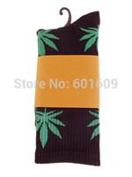 Free Shipping 1PC Marijuana Weed Leaf High Ankle Plantlife Cotton Men/women's Socks Hosiery black+green TW304