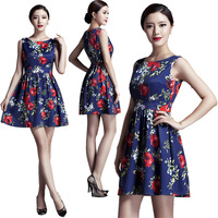 Occident Women runway Vintage Retro 50s 60s Dress Audrey Rockabilly Pin-up Summer Flower Pattern Print Party Dress 2015 6296