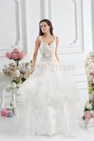 Illusion Appliques Ball Gown Wedding Dresses Straps Bridal Gown Floor-Length Bridal Dresses Discount Designer Wedding Dresses