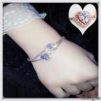 Fashion New Fine Jewelry Crystal Beads Chain Bracelet Heart Oval Bracelet Fashion Charming Romantic Gold Bracelets for women