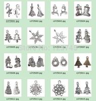 20Pcs/lots 16 Style Christmas X Silver-tone Unique Enamel Christmas Tree Charm Stocking Snowflake Deer Alloy Pendants Wholesale