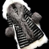 Faux Raccoon Dog Fur Long Coats 2014 Winter Fashion Women Leisure Overcoat Lady Stylish S-XXXL Plus Size Leather Jackets C094A1W