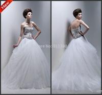 Gorgeous Ball Gown Custom Made! Strapless Floor Length Applique Beaded Net/ Tulle Wedding Dresses Custom Made Size