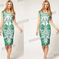 2014 summer fashion green flowers print bandage bodycon dress elegant slim fit women pencil dress fancy knee length casual dress
