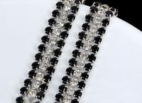 1 Yard SS12 3mm Clear Black Rhinestone Silver Chain Wedding Banding Trim Ribbon
