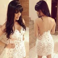 2014 Slim fit Design White Crochet Sexy Bandage lace Dress backless Prom Party dress vestido de renda Com Tule feminino