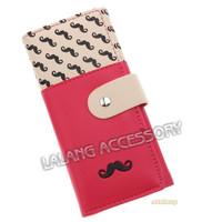 1PC Fashion PU Leather Moustache Pattern Women Hasp Purse Wallet Bag Cards Holder Money Bags E870353