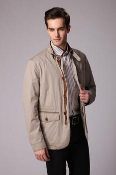 ZHANSHI 2015 Новый дизайн Высокое Качество Мужчины Мода Хаки Середина- длинная Стильная Куртка Демисезонное Пальто Бесплатная Доставка