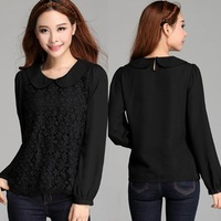 2014 new design big size long sleeves lace chiffon plus size female peter pan collar shirt loose slim spring autumn shirt XXXL