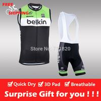 Free shipping/2014 belkin cycling sleeveless jersey and bib shorts/Ciclismo jersey/cycling vest/cycling gilet/bike clothing