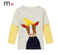 2014 cartoon cow design Boys T-shirt Kids Tees Children tees Long Sleeve 100% Cotton Cars Fireman Top Quality Free Shipping