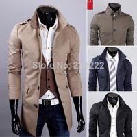 Foreign Trade Mens Slim long coat Korean men casual windbreaker lapel long section casual trench for men