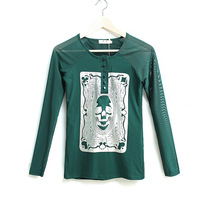 New Fashion Design Mesh Patchwork Long Sleeve Cotton T-shirt Casual Loose Body Female Autumn Basic Tops 0731
