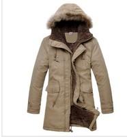 2015 New Men's Plush Thick Warm Hoodie Overcoat Winter Coat Fleece  Men's Cotton Padded Jacket 2 colors for male