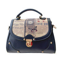 2014 Hot selling candy color fashion  women pu handbag Vintage women shoulder bag black/messenger bag small Z5