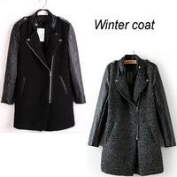 women winter coat woollen wool + PU leather jacket long overcoat desigual elegent casacos femininos black women clothes vintage
