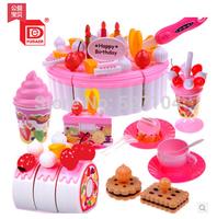 Free shipping Cutting 38pcs/set Child birthday gift girl toys birthday cake set qieqie see assembling play kitchen toys