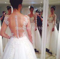 Novias De Vestidos Vintage Jewel Appliqued Long Sleeve Sheer Back Wedding Dresses Bridal Gown