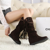 2014 new fashion women winter autumn boots mid-calf flock flat boots knee high knot lady solid shoes  09263
