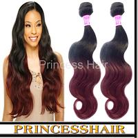 Free Shipping 3pcs No Shedding No Tangle Two Tone Human Hair 1B/Burgundy 6a Cambodian Ombre Hair Body Wave