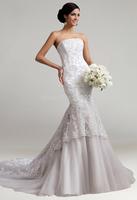 2015 Tulle Applique Beading  Mermaid Chapel Train Gorgeous Luxury Unique Brilliant Bridal Wedding Dress size 2 4 6 8 10 12 14 16
