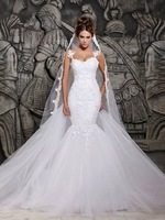 Cheap Price ! Good Quality ! 2015 New Arrival Sweetheart Lace Organza Sexy White / Ivory Mermaid Wedding Dresses