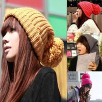 Women's Girl's Winter Slouch Knitting Cap Warm Beanie Crochet Ski Hat Hot With knitting wool ball