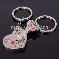 Couple Keychain Keyring Keyfob Valentine's Day Lover Gift Heart Key