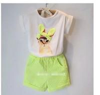 Top On Top  retail  new 2014 summer girls short sleeve t-shirt  clothing set kids clothes sets 2pcs suits  LFR09260054M