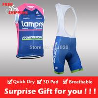 Free shipping/2014 Blue Lampre cycling sleeveless jersey and bib shorts/Ciclismo jersey/cycling vest/cycling gilet/bike clothing