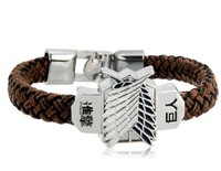 Free Shipping Attack On Titan Shingeki No Kyojin Anime Cosplay Bracelet Women Men Vintage Alloy Jewelry Wings of Freedom