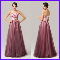 Free Shipping Grace Karin Beautiful Tulle + Satin Floor Length Long Ball Gown Empire Fashion Prom Dress Peacock CL6163