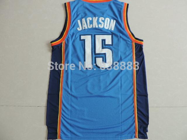 2014 New Style! Oklahoma Great Quality#15 Reggie Jackson Blue Rev 30 Basketball Jersey Embroidery Lgos ,Hot Sale(China (Mainland))