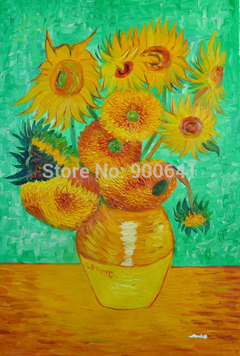 Free Shipping Hand-painted Oil Painting 90cmx60cm Canvas Abstract Van Gogh repro Sunflowers Blue VB03(China (Mainland))