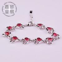 Fashion AAA zircon Exquisite ladies bracelet red flower rhinestone crystal 18K free shipping sl011