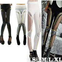 2014 New Leggings Women Hole Prints Casual Legging Satin Pencil Pants Sexy Leggings Fashion White Black Fitness Legging