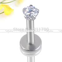 2pcs/lot CZ Round/ Star/ Heart/ Square Tragus Lip Monroe Ear Triple Cartilage Helix Stud Earring 16G Free shipping